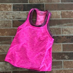 Athleta girl pink two layer athletic tank S/7